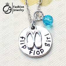 product description flip flop girl beach charm pendant necklace turquoise crystal