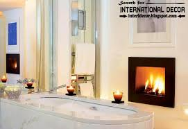 cozy interior bathroom with fireplace designs ideas electric fireplace in bathroom