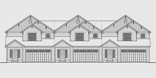 house front color elevation view for t 410 triplex house plans townhouse with 2