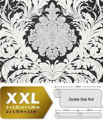 Barok Behang Edem 9017 30 Vliesbehang Hardvinyl Warmdruk In Reliëf Gestempeld Met Bloemmotief Glinsterend Zwart Crèmewit Zilver 1065 M2