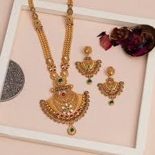 Gold Jadtar Set Design Buy Online Necklace Set Jadtar In 22k Jewelegance Com