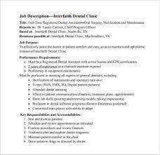 Dental Assistant Job Description Under Fontanacountryinn Com