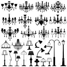 Home And Outdoor Lightning Lamps And Chandeliers Vector Set