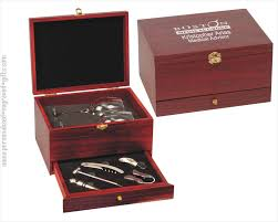 customized wine tool gift set with gles in rosewood box sandy