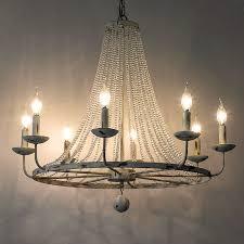rustic vintage candle shaped light crystal bead strands metal wheel large chandelier with 8 light description