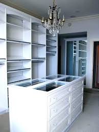 building shelves in closet with contemporary and ceiling lights island clothes rods dark stained dresser white