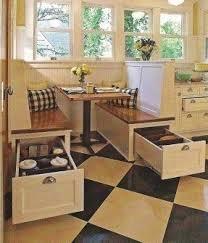 built-in storage, So want a breakfast nook in my dream home; hidden  built-in storage is super smart!