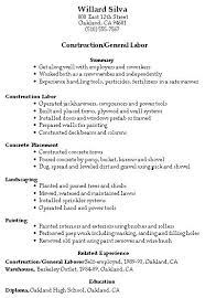 Resumes For Construction Construction Worker Description Laborer Job Description For Resume