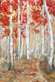 saatchi art artist christine bleny painting red birch trees art