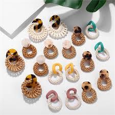 Bohemian Acrylic <b>Rattan Earrings Women</b> Drop Dangle Earring ...