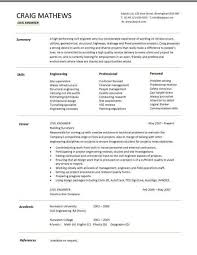 Cv Template Civil Engineer Chef Resume Customer Service