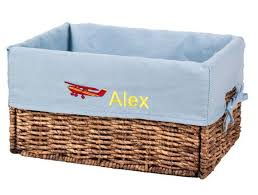 items similar to personalized kids storage with embroidered liner foldable wicker basket football gifttoy box customized gift on etsy