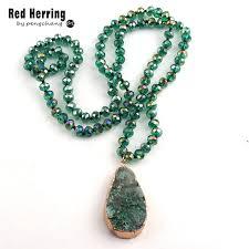 <b>Fashion Bohemian Tribal</b> Jewelry Green Long Crystal Glass Knotted ...