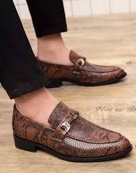 Snake Design Shoes Brown Buckle Leather Slip On Dress Shoe Snake Skin Pattern