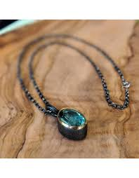 bora jewelry blue quartz pendant and chain