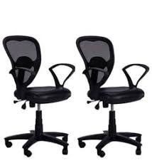 low back ergonomic chair set of 2 in black colour