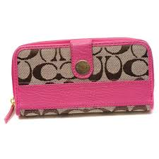 Coach In Signature Large Pink Wallets DTS