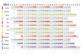 Monthly Calendar 2013 Linear Calendar 2013 With Daily And Monthly Color Coding