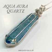aqua aura quartz aaa grade statement sterling silver hand wired pendant stress relief communication truth spiritual elevation powerful high