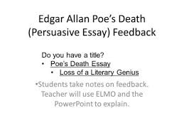 diagnostic essay feedback students take notes on feedback teacher edgar allan poe s death persuasive essay feedback