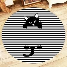 black cat silhouette round rugs and striped carpets for kids baby home living room crystal velvet