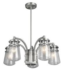 kichler 49498ba lyndon five light outdoor chandelier brushed aluminum