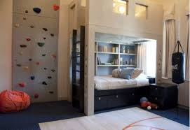 small bedroom ideas for teenage boys. Teenage Boys Bedroom With Wall Climbing Features Also Sport Theme Ideas And Open Display Shelves Bunk Bed Decor Large Area Rug Small For M