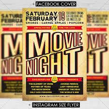 Free Movie Night Flyer Templates Movie Night Premium Flyer Template