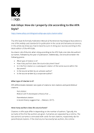Pdf How Do I Properly Cite According To The Apa Style