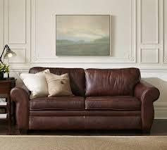 stylish leather sleeper sofa pearce leather sleeper sofa pottery barn