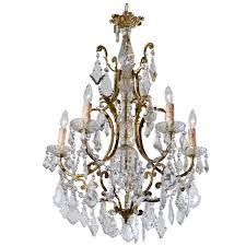 french rococo style late 19th century six light crystal and bronze chandelier for