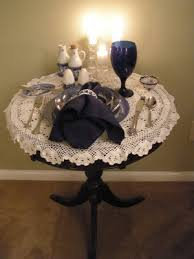 i placed a crocheted doily over my little round table and brought out a place setting from my blue willow dishes i love my blue willow dishes