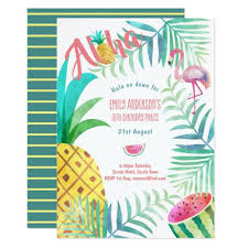 Tropical Party Invitations Fruity Tropical Birthday Party Invites Flamingo Pink Baby Shower