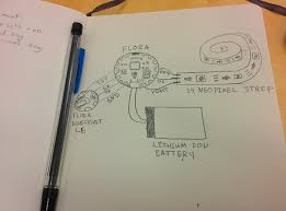 bluebrim rgb lights on a hat bonus bluetooth hand drawn bespoke circuit diagram