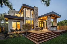 modern home architecture stone. Modern Home With Outdoor Conversation Set And Wooden Floor Also Stone Wall Idea Architecture