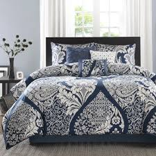 lakefront 7 piece california king comforter sets in navy and white for bedroom decoration ideas