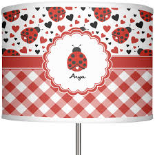 ladybugs gingham 13 in drum lamp shade