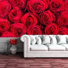 red rose wall decor roses mural fl flowers wallpaper living room bedroom photo and white