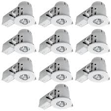com globe electric 4 swivel spotlight recessed lighting kit dimmable downlight contractor s 10 pack round trim white finish easy install