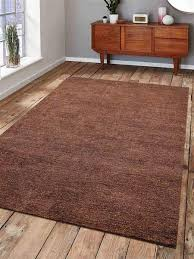 hand knotted gabbeh silk 8x10 area rug solid light brown ls0111
