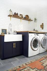Perfect Laundry Room Office Design Blue Wall