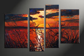 piece red canvas ocean sunset oil paintings multi panel art abstract acrylic ocean paintings watercolor