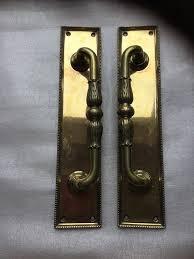 vintage large ornate pair reclaimed brass door pub hotel pull handles cast iron