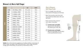 Boot Half Chap Size Charts Manhattan Saddlery