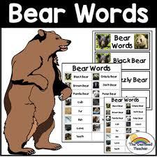 Bear Words Bear Words Pocket Chart Bear Words Dictionary