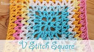V Stitch Crochet Pattern Best Super Easy Crochet V Stitch Square YouTube