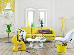 living room with yellow accent color furniture