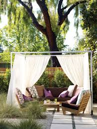 or add curtains for a cabana and tropical feel to an open patio it also helps create a sense of privacy and romance