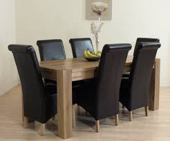 dining sets seater: details about kuba solid oak table and  brown leather