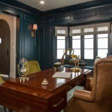bay window desk home office modern. Modern Blue Den With Bay Window Desk Home Office